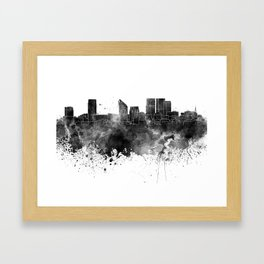 The Hague skyline in watercolor background Framed Art Print