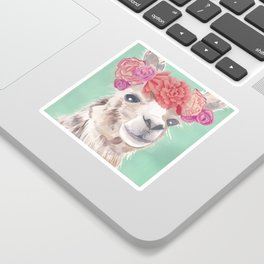 Flower Crown Llama Sticker