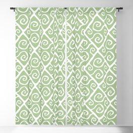 Mid Century Modern Diamond Swirl Pattern Sage Green Blackout Curtain