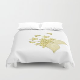 Elegant gold butterflies and gold flowers Duvet Cover