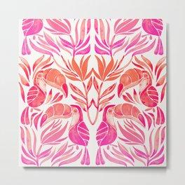 Tropical Toucans – Pink Ombré Palette Metal Print