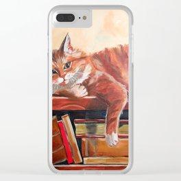 Red cat on a bookshelf Clear iPhone Case