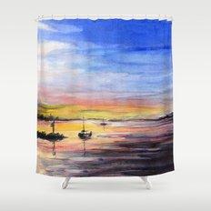 Sunset Watercolor Painting Landscape Art Shower Curtain