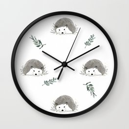 Cute  hedgehog with nature leaves Wall Clock
