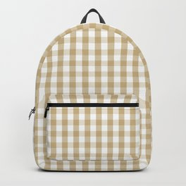 Christmas Gold Large Gingham Check Plaid Pattern Backpack