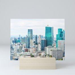 city skyline aerial view under bright blue sky in Tokyo, Japan Mini Art Print
