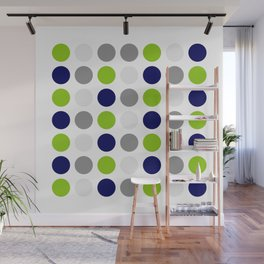Lime Green, Bright Navy Blue, and Gray Multi Dots Minimalist Pattern on White Wall Mural