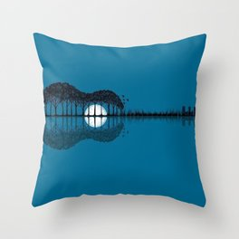 Trees sea and the moon turned guitar Throw Pillow