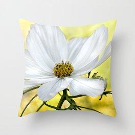 Floral White Cosmos Throw Pillow