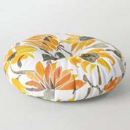 Sunflower Watercolor – Yellow & Black Palette Floor Pillow