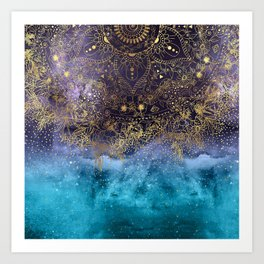 Gold floral mandala and confetti image Art Print