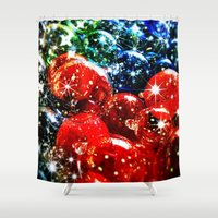 sparkles Shower Curtains featuring Christmas Sparkles by Nicklas Gustafsson