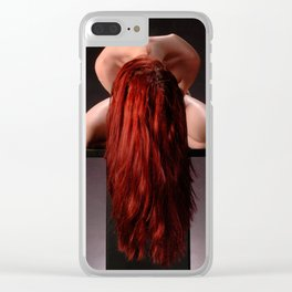 0788-MAK Submissive Redhead Woman Kneeling On Pedestal Long Red Hair Clear iPhone Case
