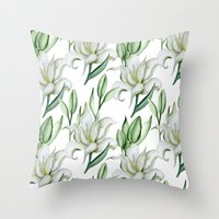 lily Throw Pillows featuring Lily by Julia Badeeva