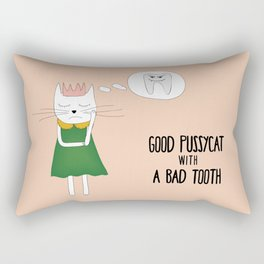 Good pussycat with a bad tooth Rectangular Pillow