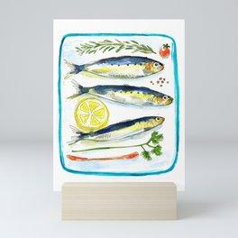 3 sardines Mini Art Print