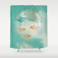 balloon Shower Curtains featuring balloon fish 03 by Vin Zzep