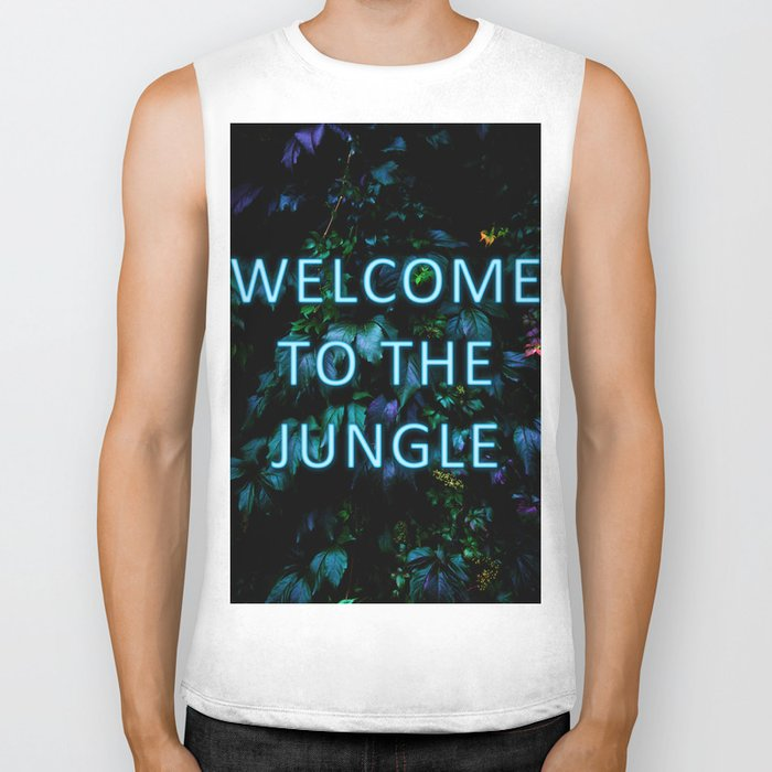 Welcome to the Jungle - Neon Typography Biker Tank