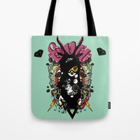 evil Tote Bags featuring EVIL by DON'T NEED NO SAMURAI