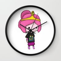 princess bubblegum Wall Clocks featuring Bubblegum Princess by Kam-Fox