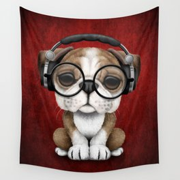 English Bulldog Puppy Dj Wearing Headphones and Glasses on Red Wall Tapestry