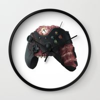 xbox Wall Clocks featuring Zombie Xbox One Controller by Peyeyo