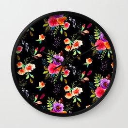 Bright Watercolor Flowers on Black | Neon Floral | Renee Davis Wall Clock