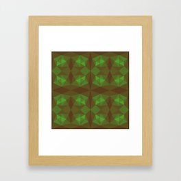 Abstract symmetry green background Framed Art Print