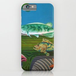 Mariana Trench Sea Bottom landscape with fish, seashells, and starfish by Hilaire Hiler iPhone Case