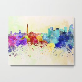 Buenos Aires skyline in watercolor background Metal Print