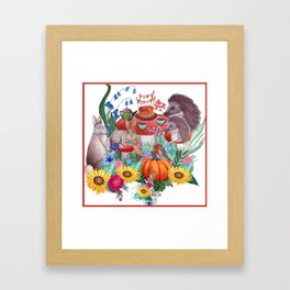 Woodland animal fall nursery art, watercolor rabbit, hedgehog and robin Framed Art Print