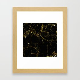 Golden Marble - Black and gold marble pattern, textured design Framed Art Print