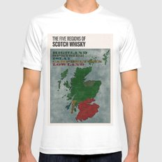 The Five Regions of Scotch Whisky (woodpress) MEDIUM White Mens Fitted Tee