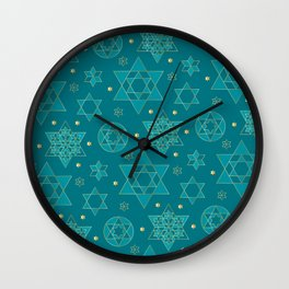 Turquoise and blue-green Jewish star pattern Wall Clock