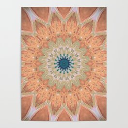 Peach Antique Gold Mandala Poster