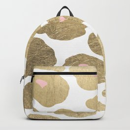 Elegant pink faux gold abstract leopard animal print Backpack