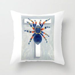 T is for Tarantula  Letter Alphabet Decor Design Art Pattern Throw Pillow