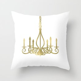 Gold Glam Chic Chandelier Throw Pillow