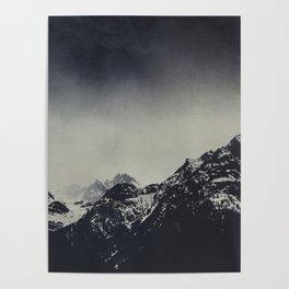 Misty Dark Mountain Peaks in the Italian Alps Poster