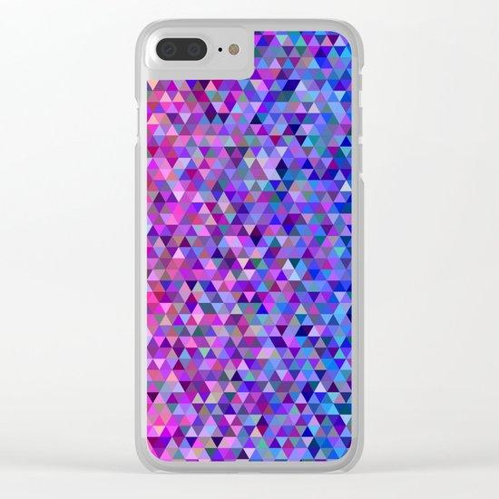 Aztec Pink & Blue Geometric Pixels Clear iPhone Case