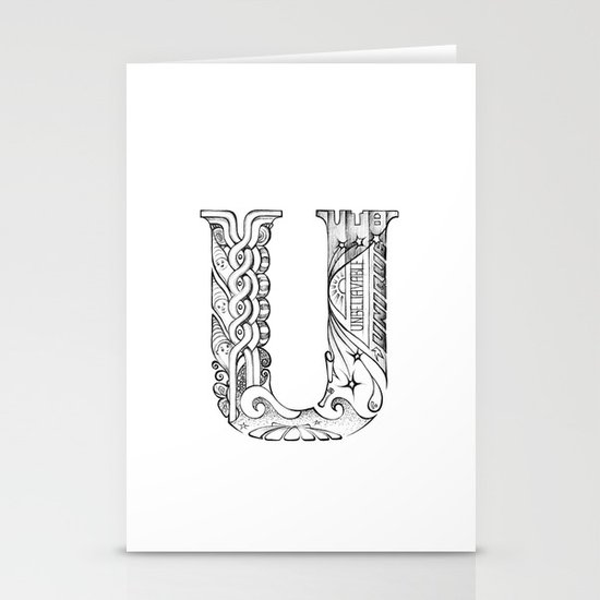 U letter Stationery Cards