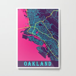 Oakland Neon City Map, Oakland Minimalist City Map Art Print Metal Print