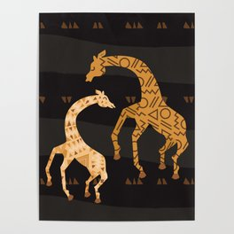 Black and Gold Giraffe Pattern Poster
