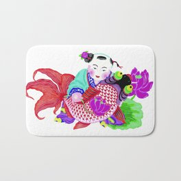 Chinese Paper Cutting Chinoiserie Watercolor Design Bath Mat