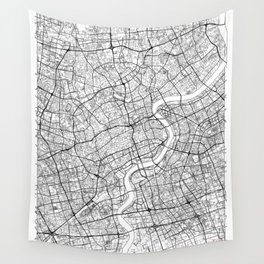 Shanghai Map White Wall Tapestry