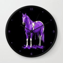 Purple Dripping Wet Paint Horse Wall Clock