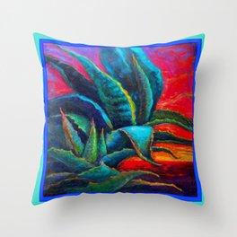DECORATIVE  BLUE DESERT AGAVE RED DAWN DESIGN Throw Pillow