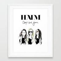 haim Framed Art Prints featuring Haim Days are gone by Mariam Tronchoni