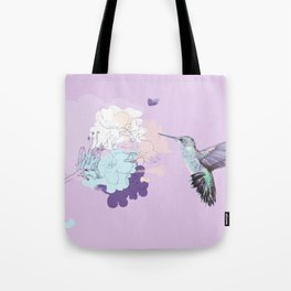 Lavender hummingbird and flower watercolor Tote Bag