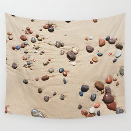 Wet sand and stones on beach Wall Tapestry